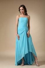 Cheap Strapless Aqua Blue High Low Prom Dress