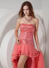 2014 Top Designer Watermelon Sequin High-low Prom Dress