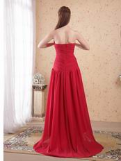 Cheap Sweetheart Wine Red Chiffon High-low Prom Dress