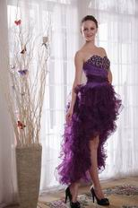 Purple Low Front Long Back Prom Dress With Crystal Decorate