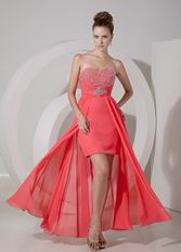Discount High-low Watermelon Prom Dress With Beading