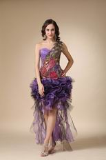 Cascade Peacock Plume High Low One Shoulder Prom Dress
