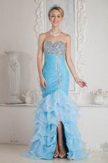 Luxurious Corset Back Aqua High Low Mermaid Party Dress