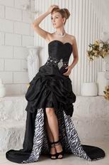 High Low Black Prom Dress Chapel Train Zebra Fabric Inside