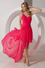 One Shoulder Sexy High Low Style Hot Pink Prom Dress