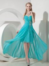 Turquoise Sweetheart High-low Prom Dress Made By Chiffon