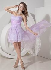 Pretty Sweetheart High-low Lavender Prom Dress With Lace