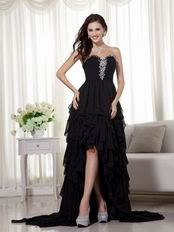 Black High-low Skirt Prom Dress Wear To 2014 Prom Season