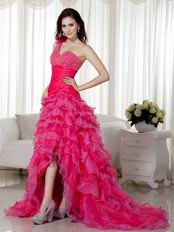 One Shoulder High Low Style Skirt Hot Pink Evening Dress