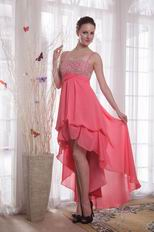 Watermelon Straps High-low Chiffon Beaded Prom Dress