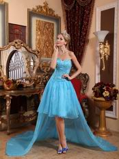 Cheap Sweetheart Aqua Blue High-low Prom Party Dress