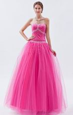 Fuchsia Sweetheart A-line Prom Ball Gown With Beading