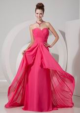 Ruched Sweetheart Hot Pink Chiffon 2013 Top Designer Prom Dress