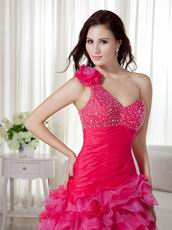 One Shoulder High Low Hot Pink Club Dress For Women