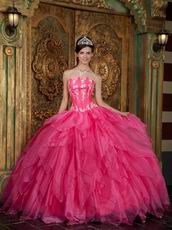 Gorgeous Strapless Hot Pink Quinceanera Dress For Cheap