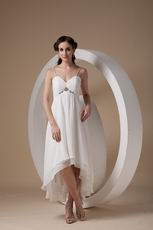 Cheap Spaghetti Straps White Chiffon High-low Prom Dress