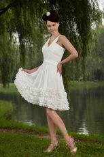 V-Neck Ivory Chiffon Skirt Graduation Short Dress