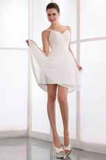Spaghetti Straps Ivory Chiffon Sweet Sixteen Short Dress