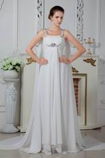 Square Beaded Straps Chiffon Evening Dress Discount