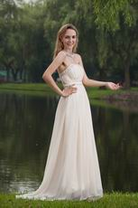 Strapless Floor Length Cream Chiffon Beaded New Prom Dress