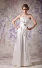 White Strapless Floor-length Dress For Bridesmaid Wear 2014