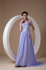 exy V-neck Open Back Design Lavender Dress To Prom Party