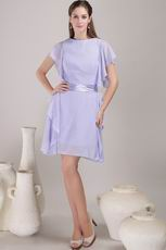 Mini-length Lavender Mother Of The Bride Dress With Sash