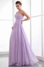 Elegant Beading Zip Lilac Chiffon Dress For 2014 Prom Party