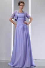 Spaghetti Straps Lavender Bridal Mother Dress With Lace Jacket