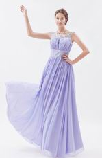 Scoop Lavender Chiffon Fabric Floor Length Prom Dress With Crystals