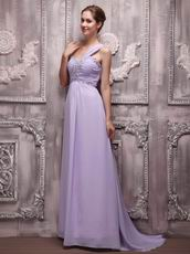 2014 Lavender Chiffon Prom Dress With One Shoulder Skirt