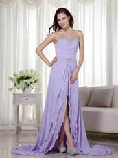 Designer Lavender Prom Dress With Detachable High Low Skirt