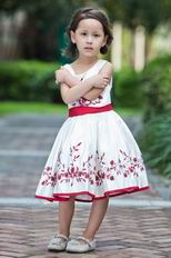 Wholesale Scoop Embroidery Belt A-line Flower Girl Dresses