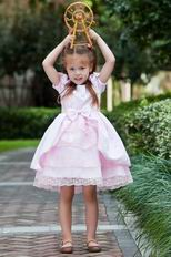 Low Price Scoop Appliques Bow Beading Pink Dress For Infant Flower Girl
