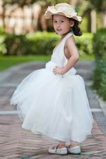 Halter V Neck Beading Belt Ankle Length Tulle Toddler Flower Girl Dress
