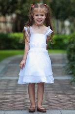 Vintage Straps A-line White Organza Flower Girl Dress For Sale