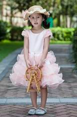 Cheap Scoop Neck Cap Sleeves Short Pink Infant Flower Girl Dress