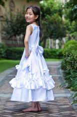 Affordable Scoop Flowers Belt Bow Ivory Flower Girl Dress Website