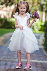 Unique V-Neck Bow Straps Ivory Organza Flower Girl Dresses Under $100