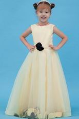 Cute Scoop Flower A-line Yellow Flower Girl Dress For Less