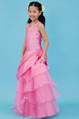 Lovely Halter Beading Layers Pink Taffeta Organza Flower Girl Dresses
