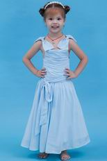 Lovely Straps Bow Ruched A-line Baby Blue First Communion Dress