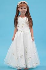 Beautiful V-Neck Appliques A-line Ivory Organza Dress For Flower Girl