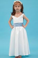 Beautiful V-Neck Belt Flower A Line White Stain Flower Girl Dress