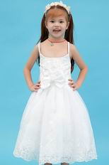 Cute Spaghetti Straps Bow Appliques White Organza Flower Girl Dress