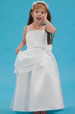 Hot Sell Spaghetti Straps Bow Ivory Taffeta Flower Girl Dress