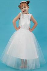Cute Scoop Appliques Beading Net Flower Girls Dresses For Less