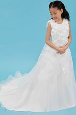 Luxury Jewel/Square Flowers Zipper Beading Cheap Flower Girl Dress