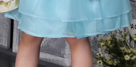 Auqa Straps Knee-length Organza Beading Flower Girl Dress