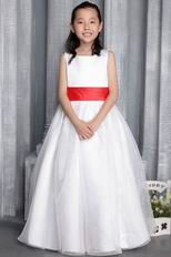 Scoop Neckline Floor-length Flower Girl Dress With Belt